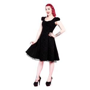 bd7029fa0191 Hearts and Roses of London Dresses - Black Velvet Leopard Print Vintage  style Dress